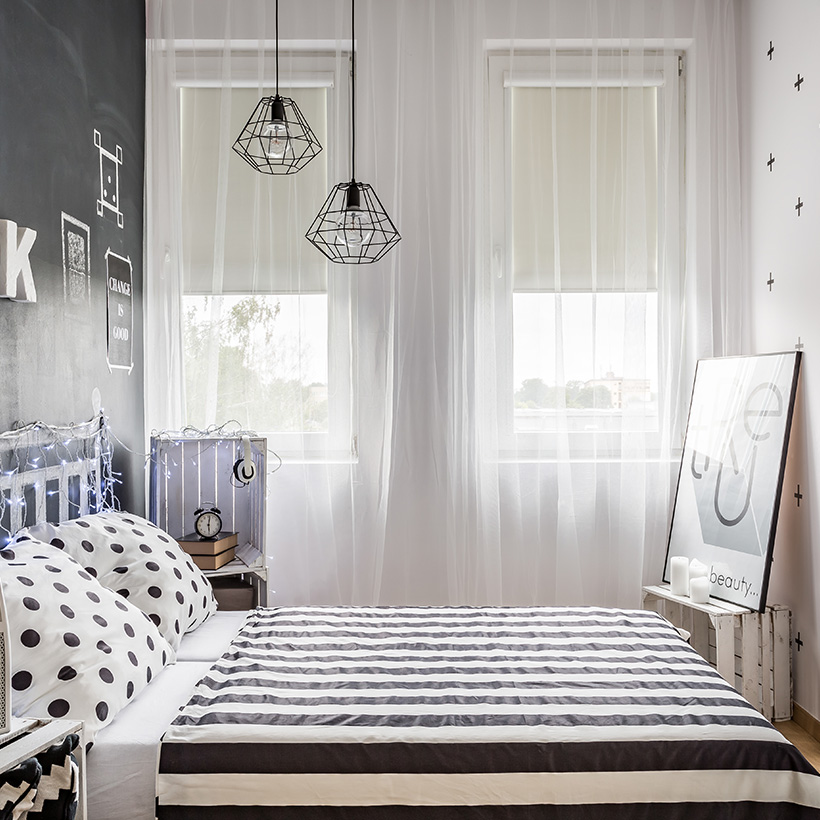 Small bedroom design idea is to create an illusion of space with hanging sheers as close to your bedroom ceiling