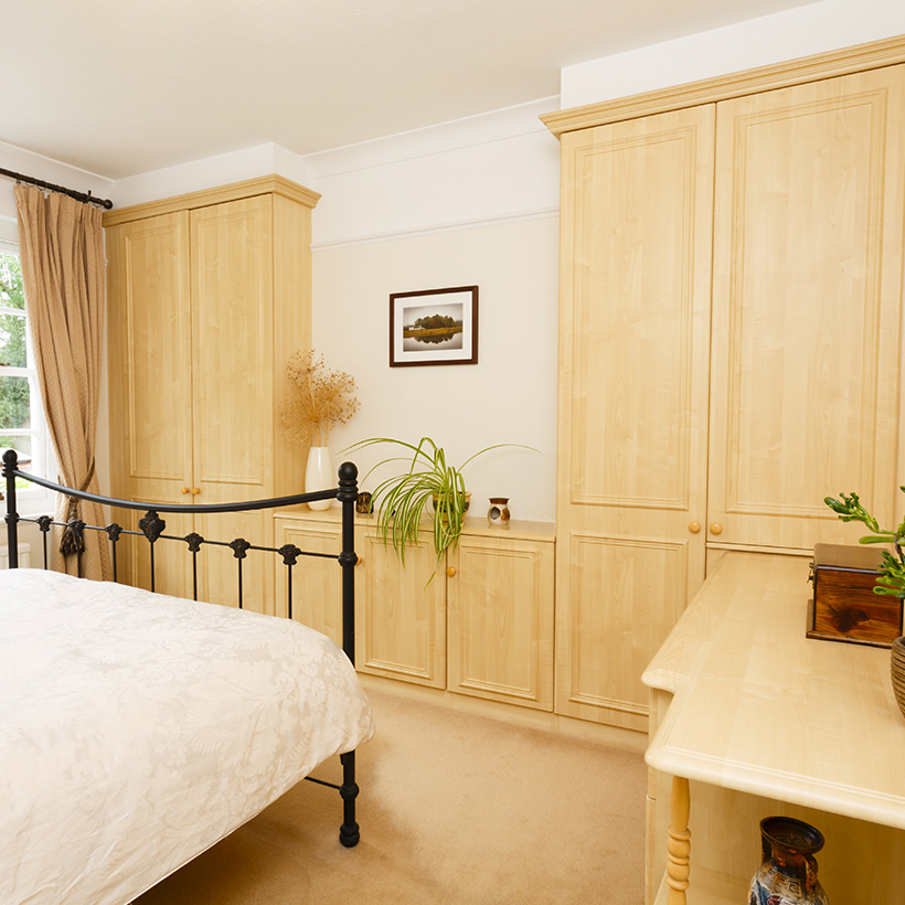 While doing small bedroom interior use well designed cupboards, wardrobes keep small bedrooms clutter-free