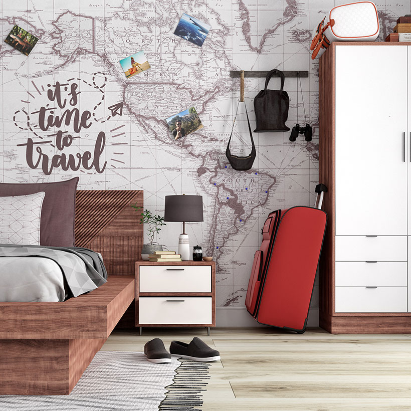 Travel inspired bedroom wall design with your travel memories to make an awesome travel inspired bedroom wall