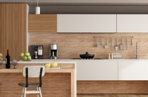 Kitchen tiles made up of wood for home with wooden flooring and backsplash tiles also made up of wood in kitchen tiles design