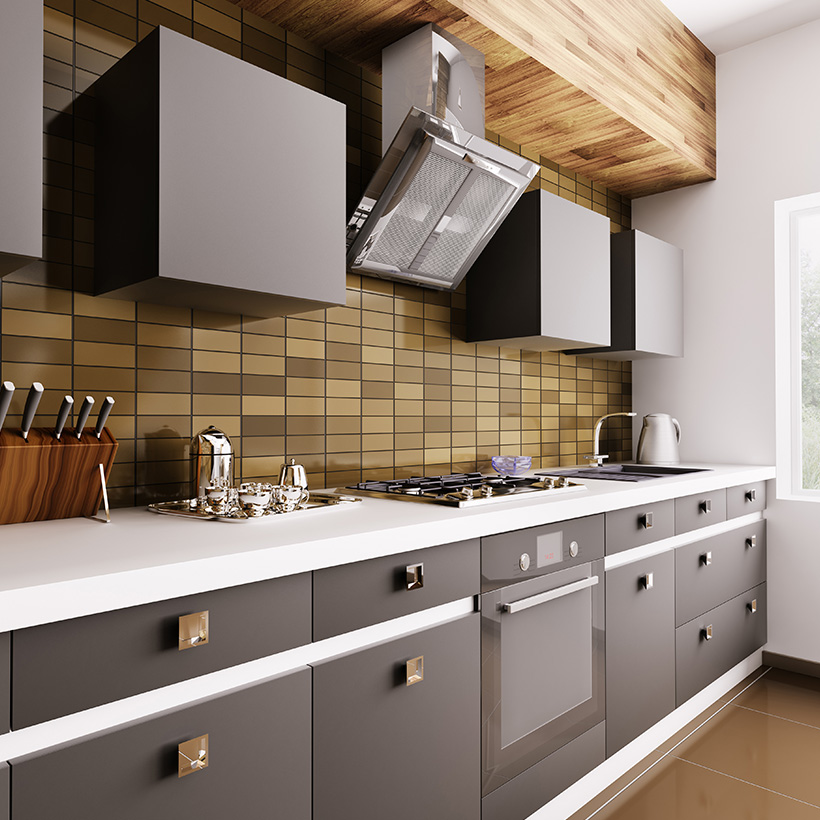Modern 3d tiles for kitchen with small rectangles and wooden finish in the backsplash with matching dark yellow colours for kitchen tiles design