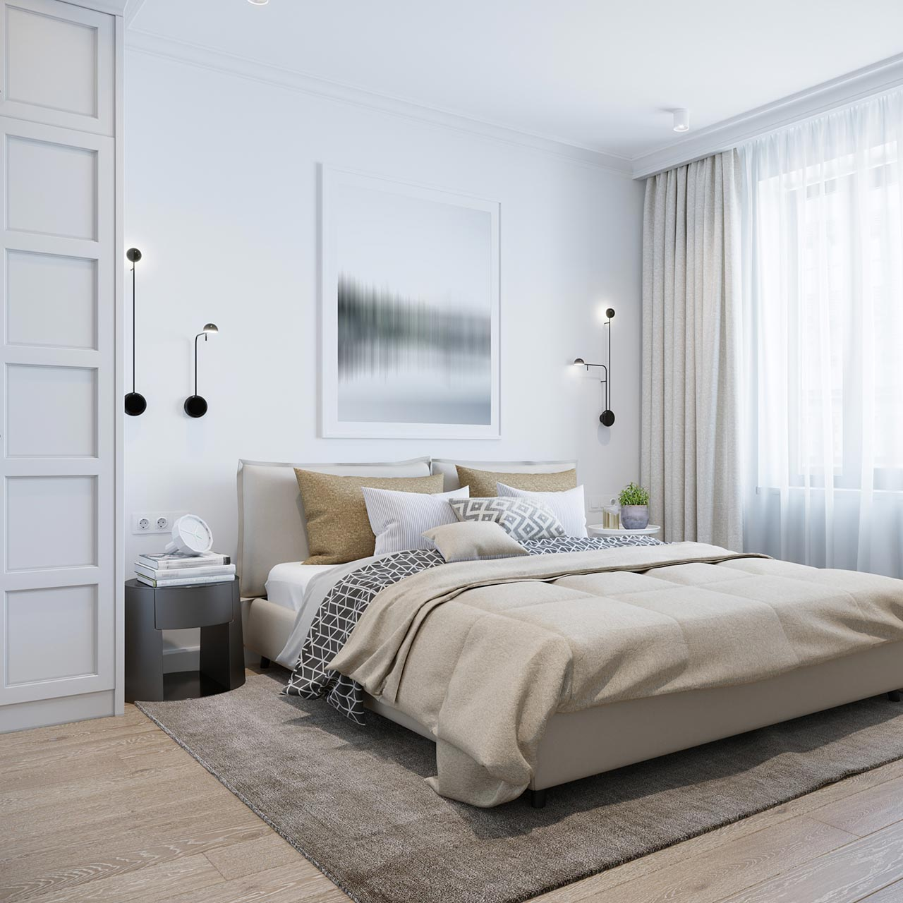 Walls Arts Ideas for Scanadivian Bedroom Design