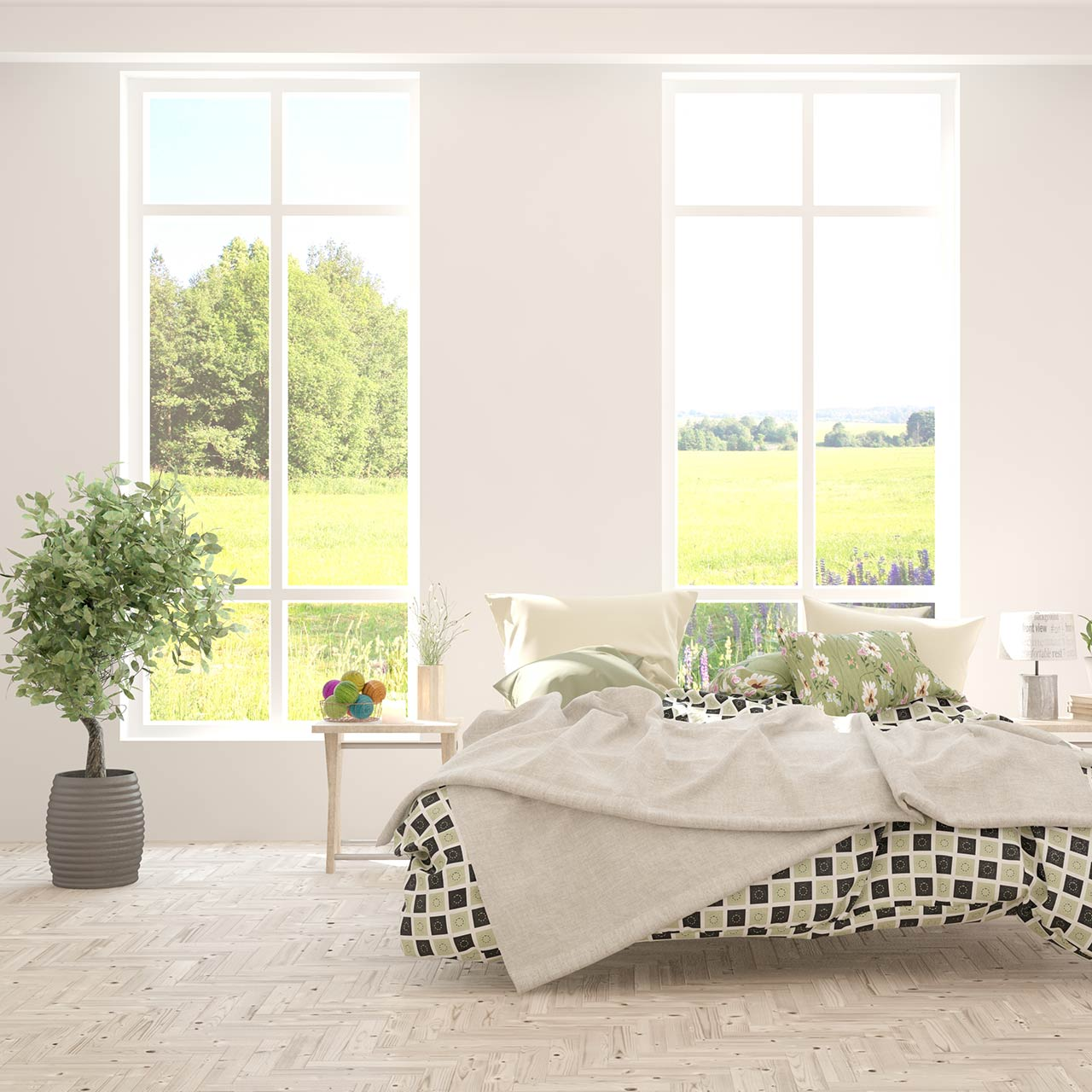 Opened Window Draw Curtain Ideas for Scanadivian Style Bedroom Design