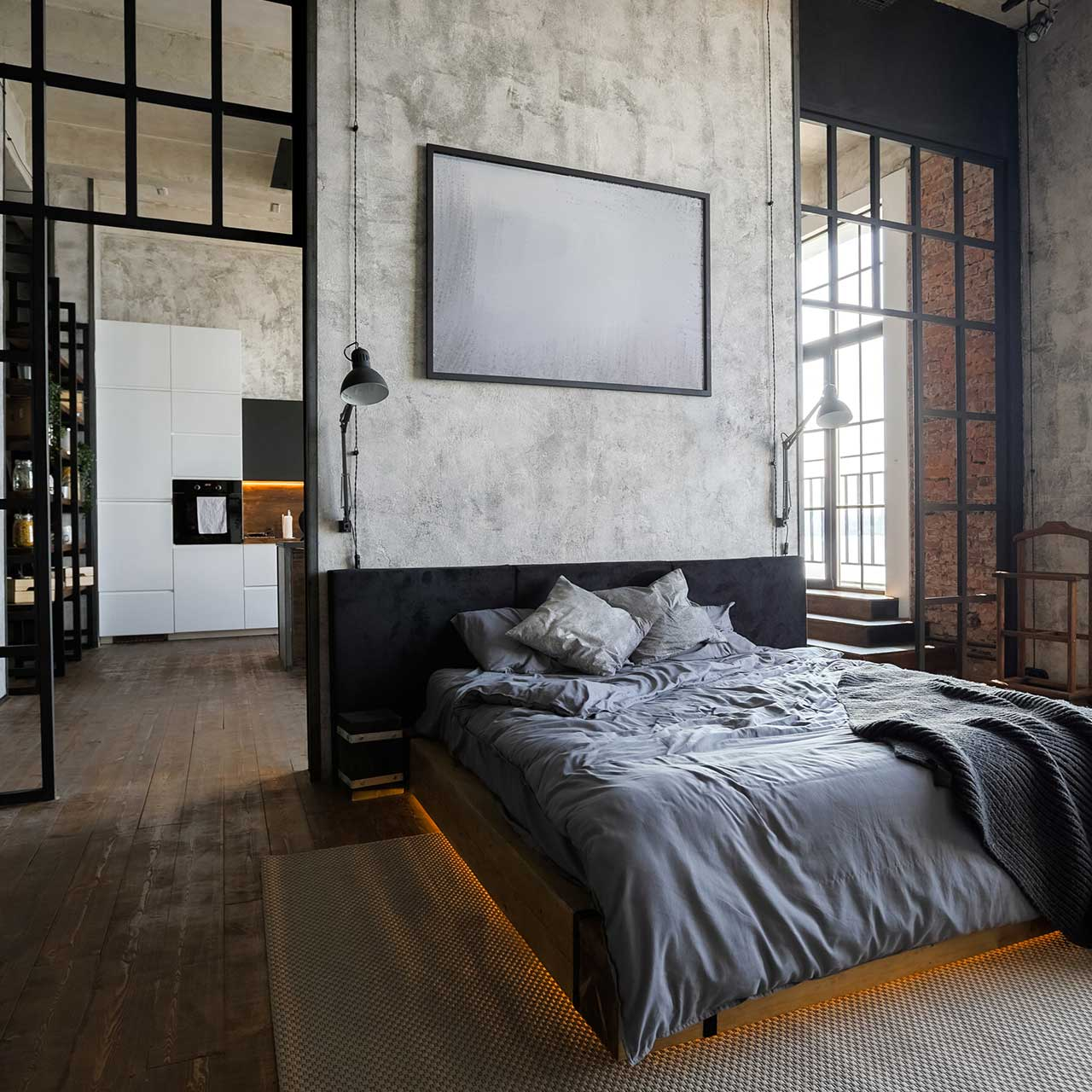 modern style of window panes for industrial style bedroom design