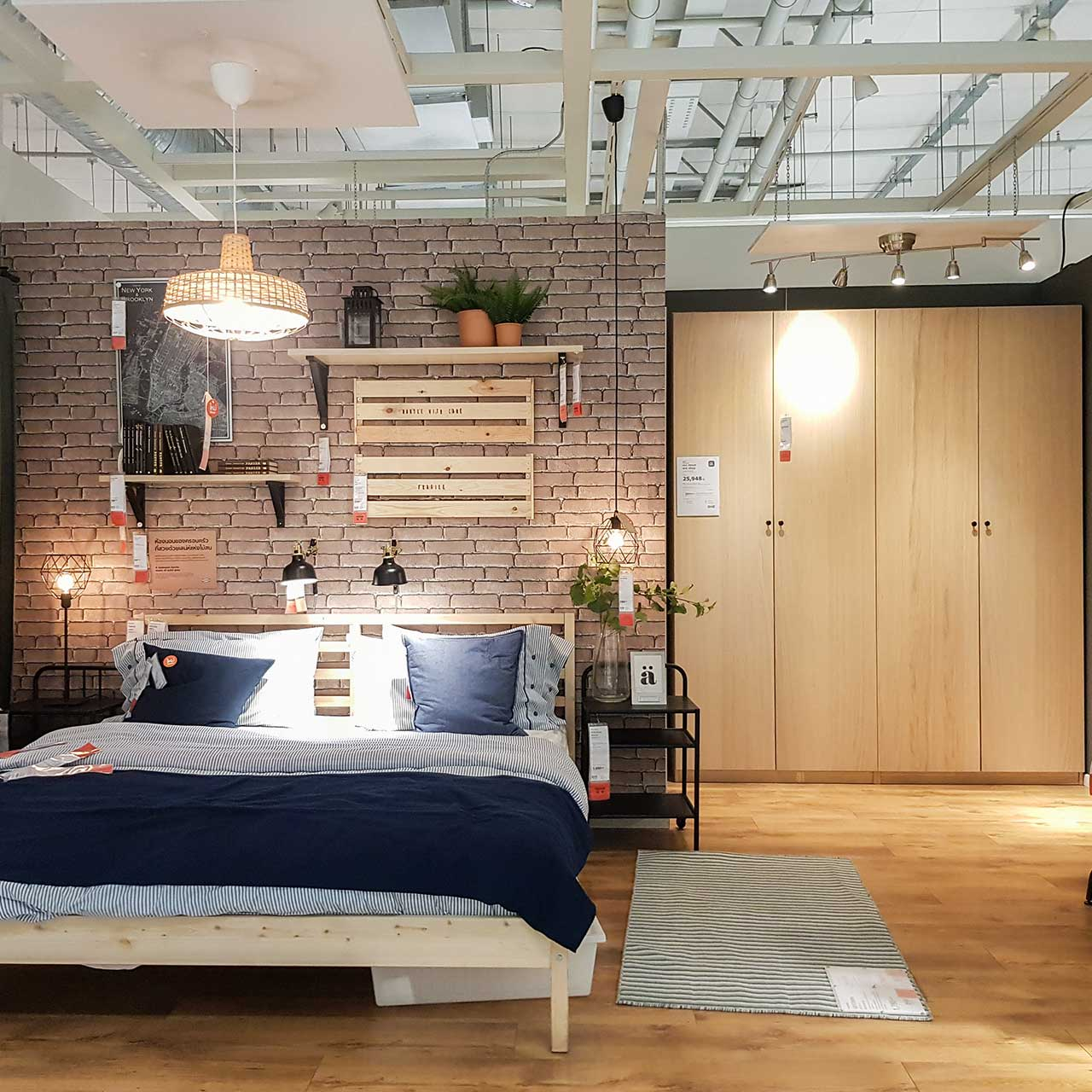 storage art idea for industrial style bedroom design