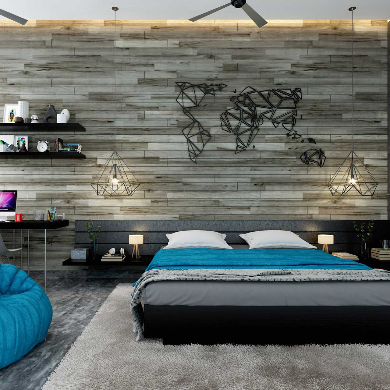 bedroom with a wallpaper for a beautiful backdrop and lightings in this bedroom interior