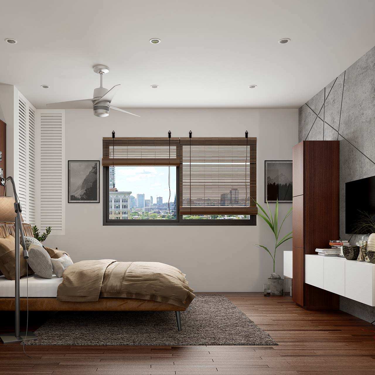 Modern bedroom with a shutters to control the brightness & inflow of natural light