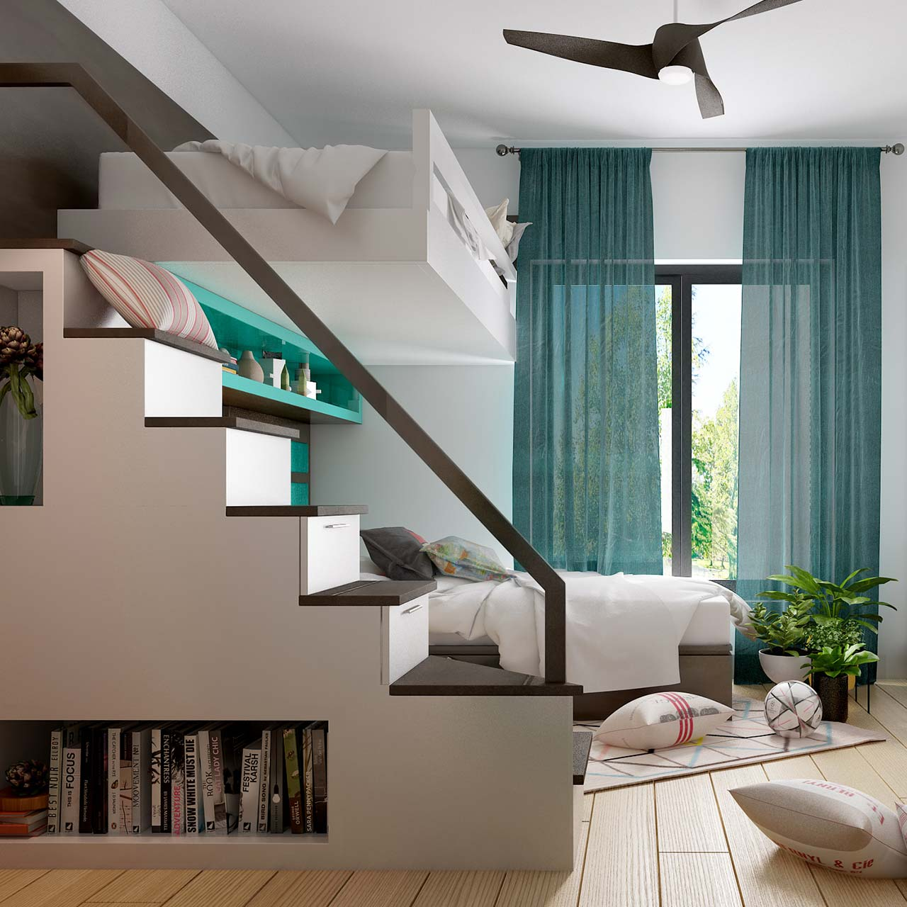 Small bedroom interior design with loft bed is a brilliant space-saving solution