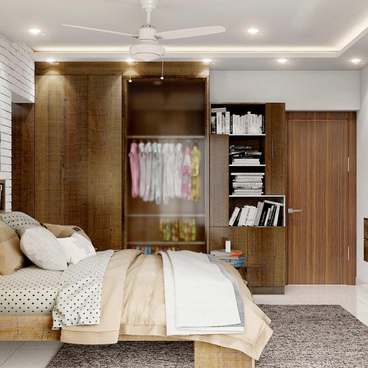 Bedroom designed with bookshelf and wardrobe with transparent glass door