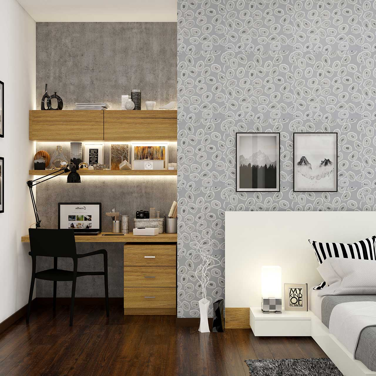 Corner study unit with led strips in the modern bedroom interior