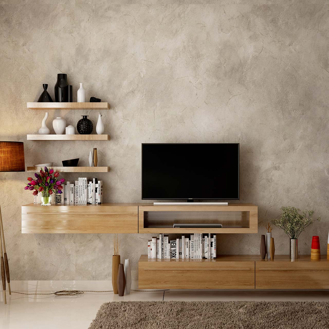 Bedroom design check list with TV unit in the bedroom with floating shelves