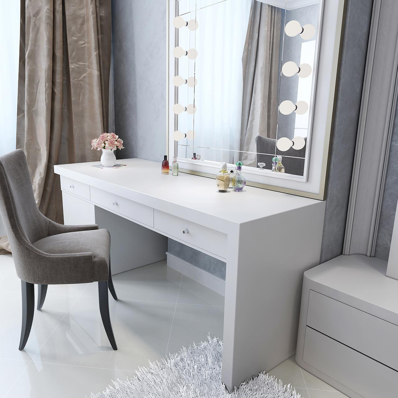 Bedroom interior design furniture with hollywood style white dressing table with lights around the mirror