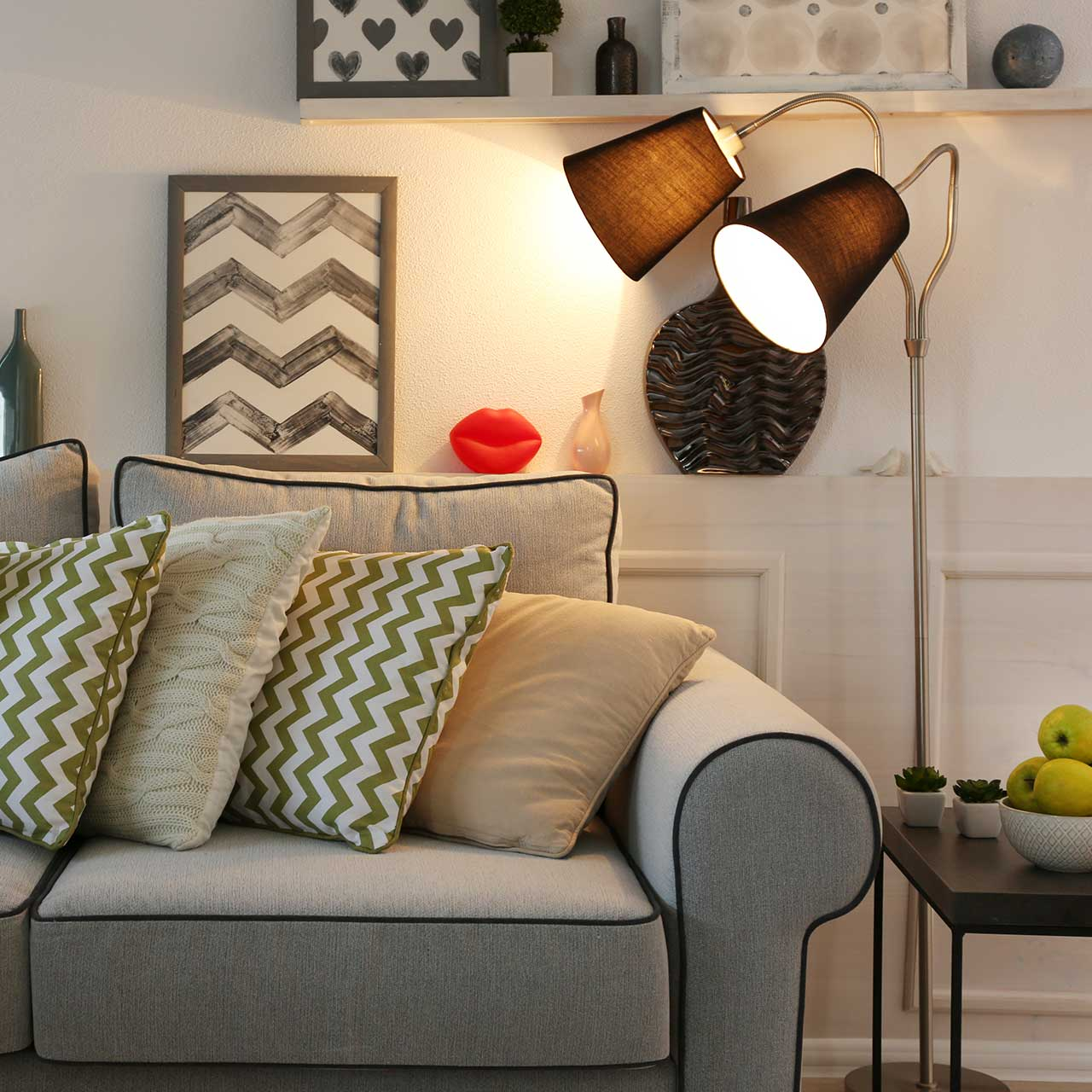 Choose floor lamps, table lamps, wall sconces are to create a cozy, warm atmosphere to living room interiors