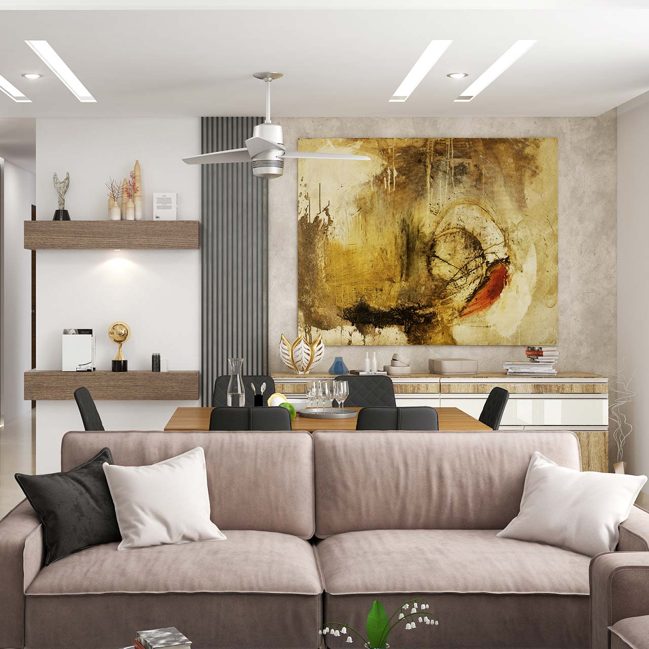Living room wall design and decor make a collage with different styles of frames and mount it on the wall