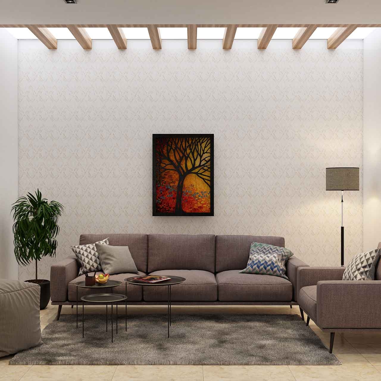 Minimalistic style living room design with a clean, calm, space without being bored, minimalism calls for a clutter-free space
