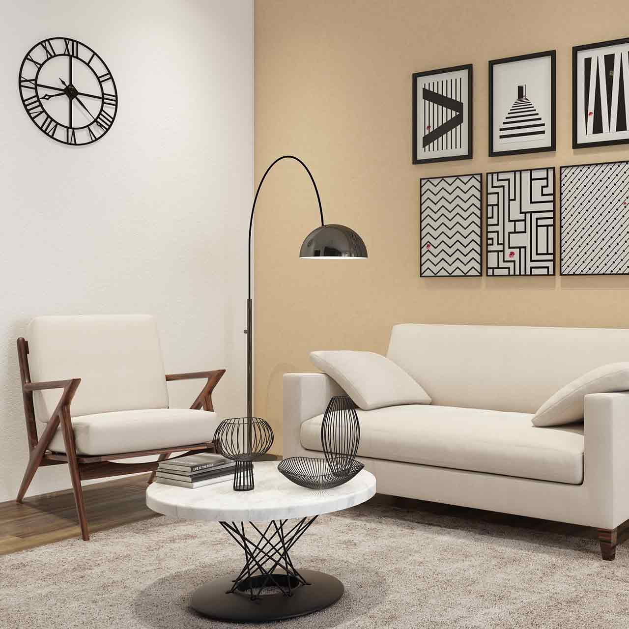 Simple style living room interior design with a unique and colourful designed coffee table.