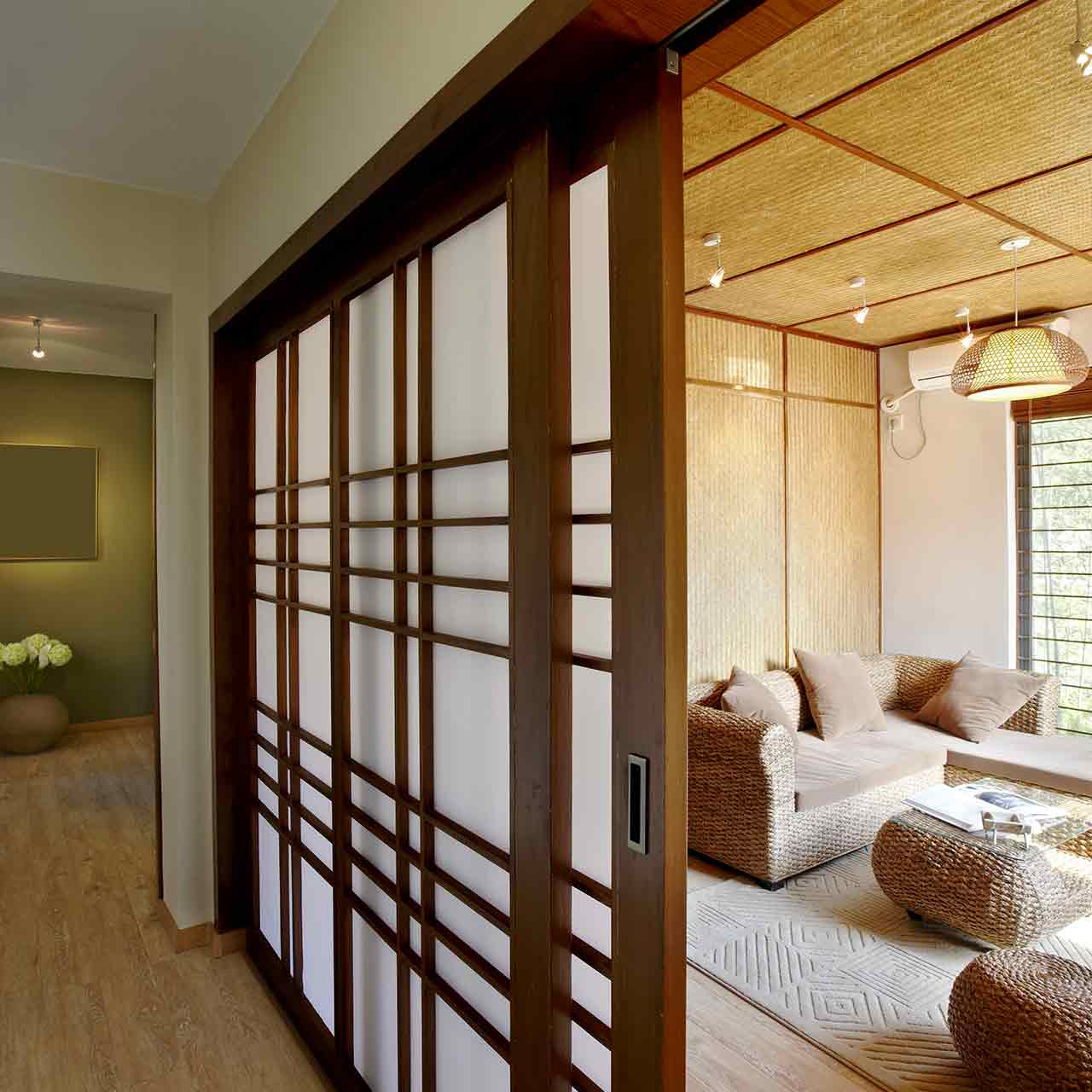 Asian style living room designs are focused on nature and adorned with backdrops of landscapes