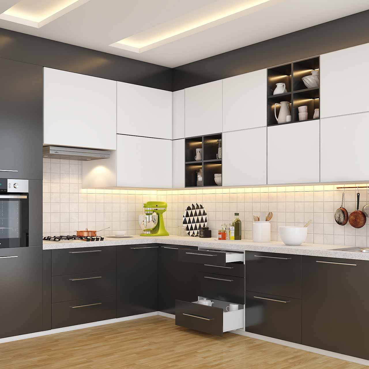 Types of kitchen: l shaped kitchen layout with grey and white cabinets and drawers on the bottom in l shaped modular kitchen photos
