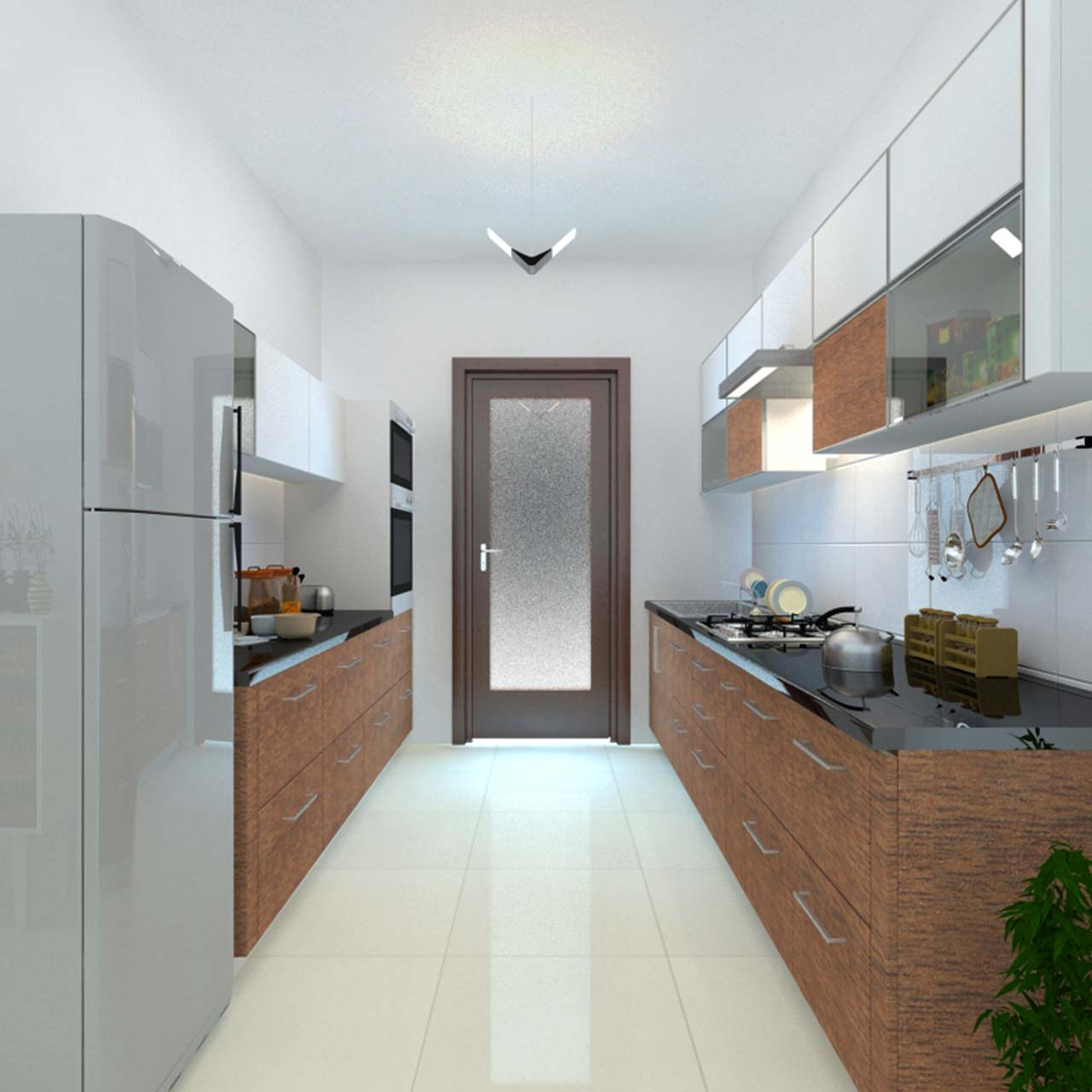 small kitchen layouts with parallel kitchen and a door in between and white colour cabinets and white tiles on the floor in kitchen layouts with island and pantry with different kitchen designs
