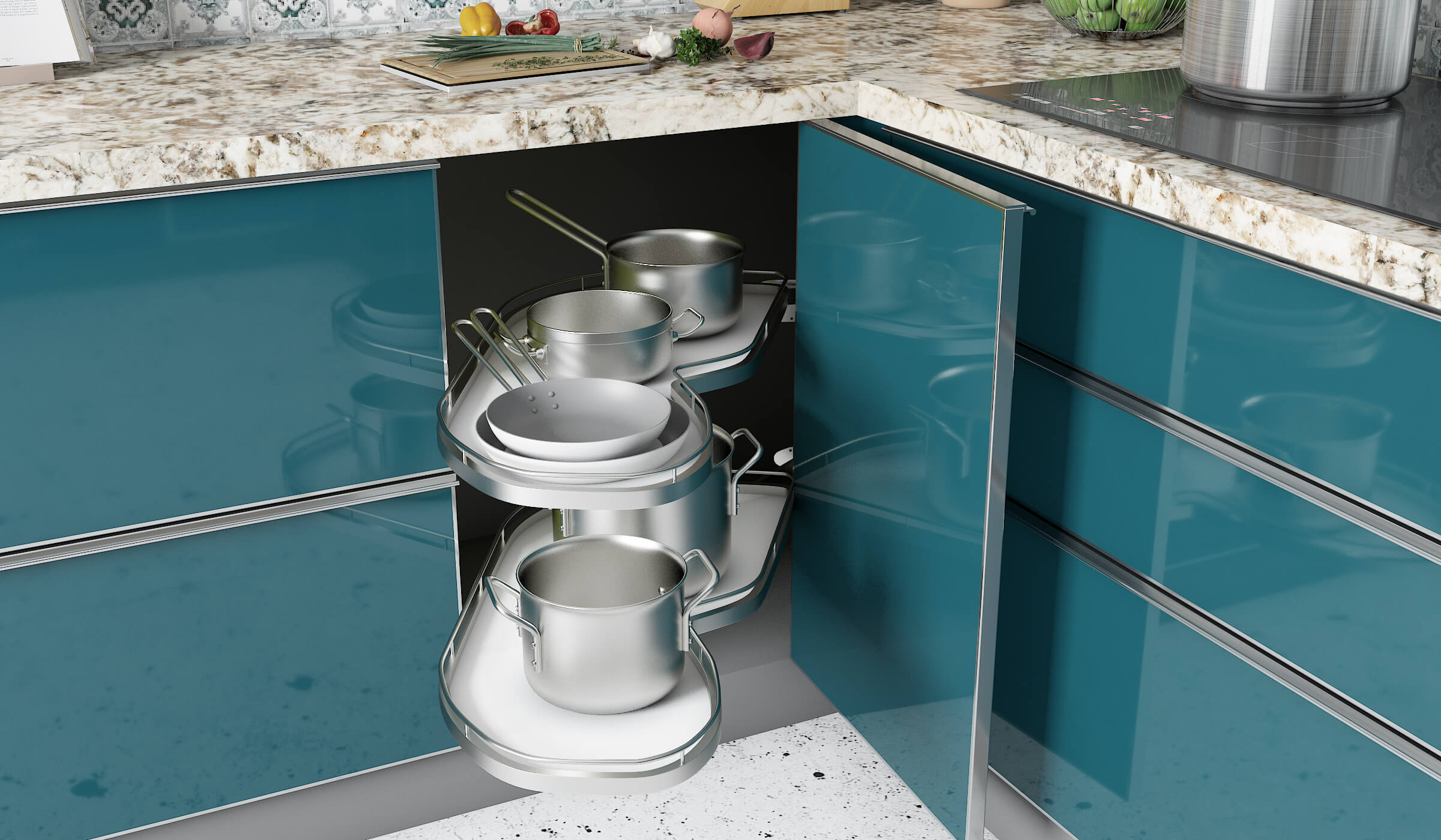 Maximize Storage Space in Your Modular Kitchen with S Shaped Carousels in indian kitchen design for small space