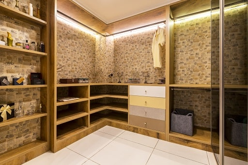 Walkin Wardrobe Designs with Modular Interiors at Design Cafe Bangalore Experience Centre / Design Studio Store.
