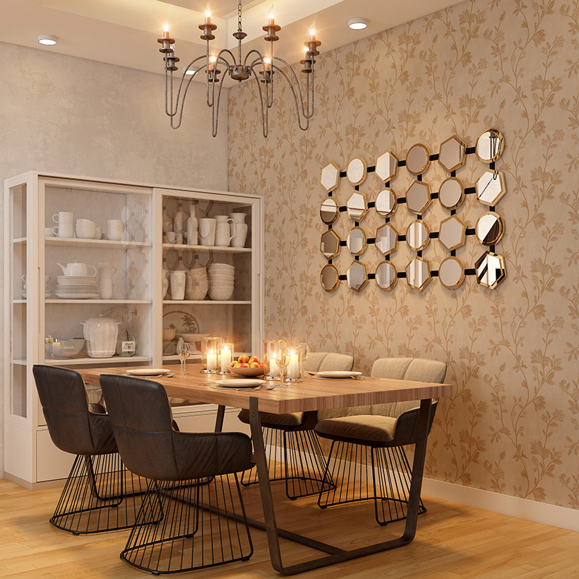 Crockery unit with a sleek and slim glass front it is a crockery unit design for dining area
