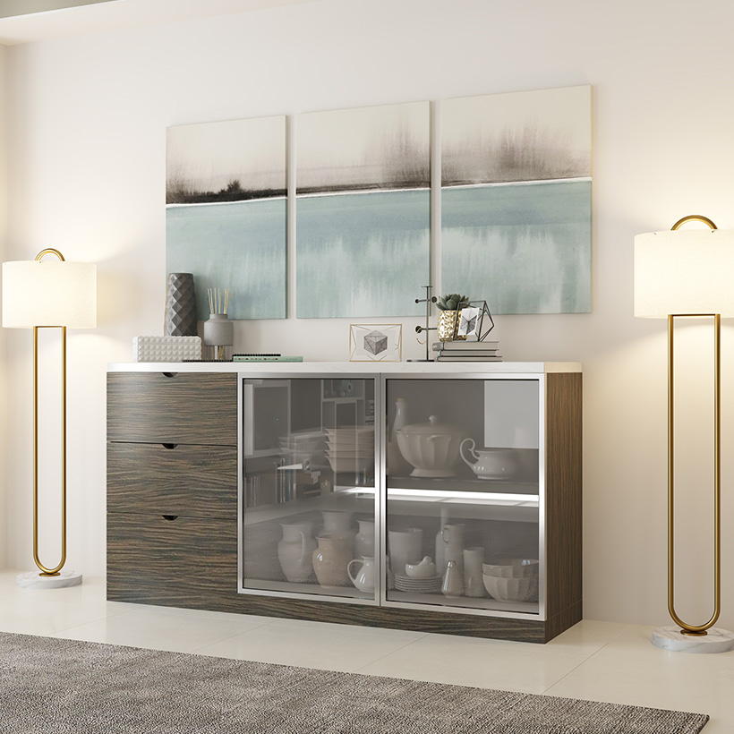 Crockery unit designs have lots of drawers and shelves as part of its modular crockery unit designs