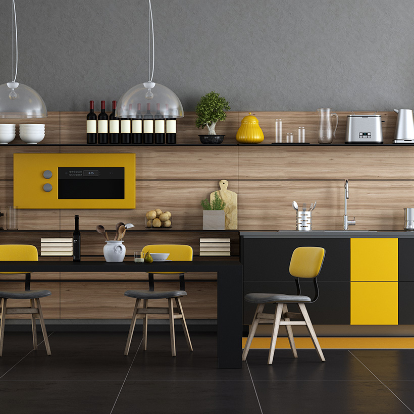 Choose black and yellow colours for indian modern kitchen interiors with dining table and chairs