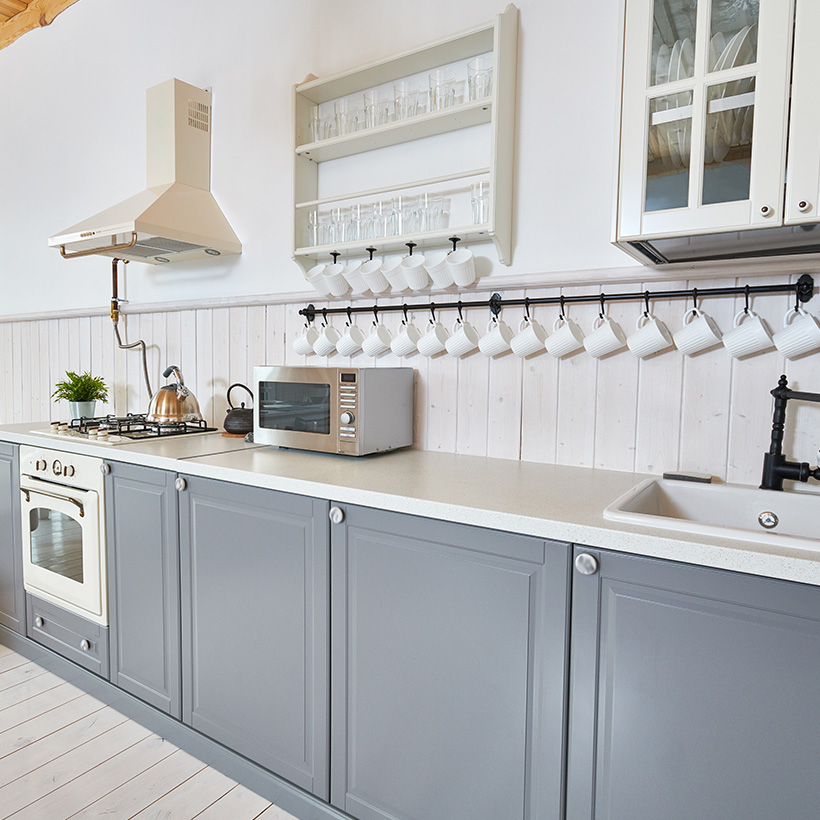 Add a statement with grey kitchen cabinets and white kitchen cabinets