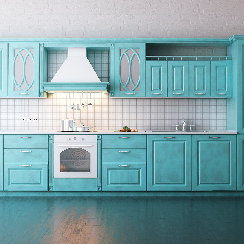 Kitchen cabinets colors and designs with a lighter turquoise and team it with white