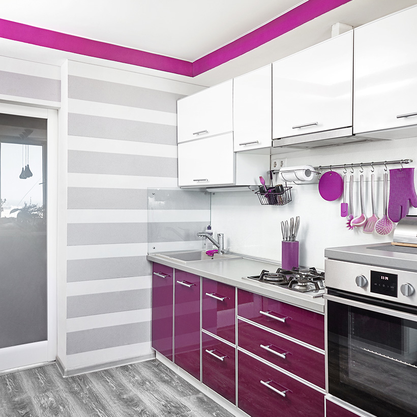 Kitchen cabinet paint colors with purple will give your kitchen a trendy look that pops