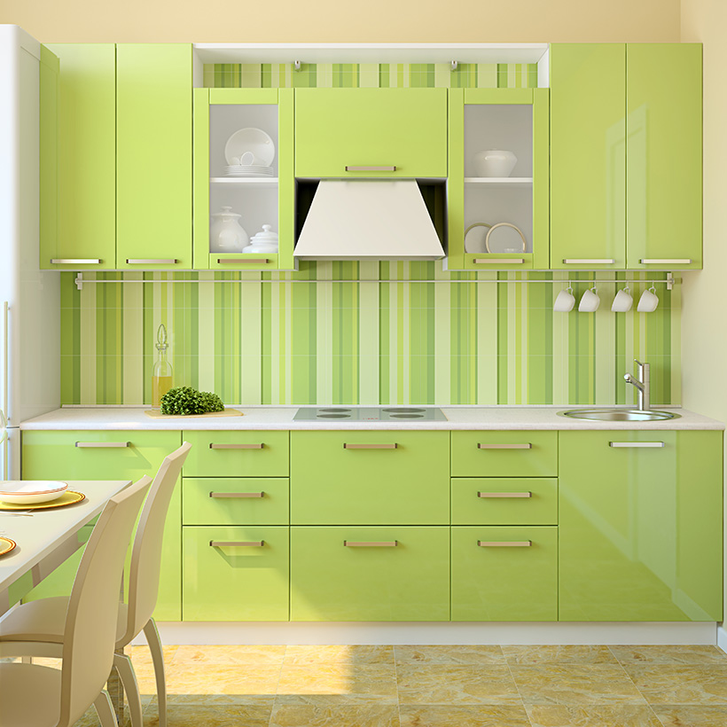 Green kitchen cabinets add a touch of freshness to the kitchen