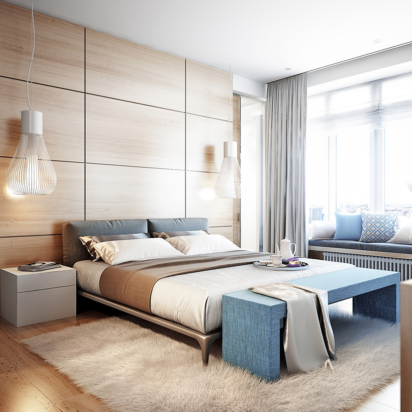 Master bedroom interior design for your home with an elegant look with hanging lamps and fur carpet in made up of best master bedroom colours