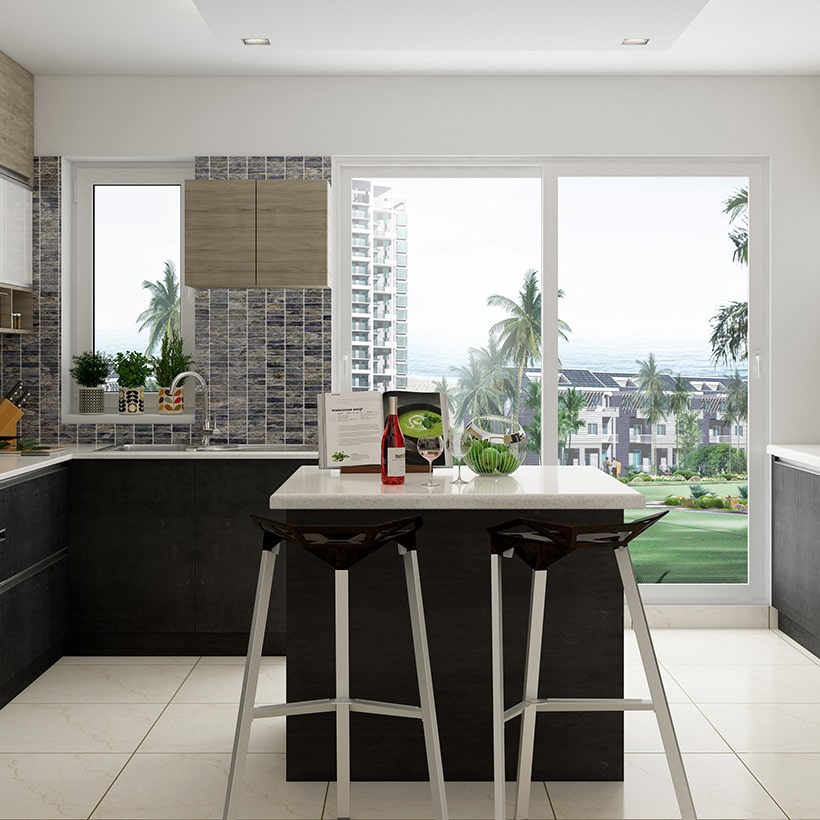 Kitchen island design with bar stools boost the elegance of the simple but stylish black kitchen island