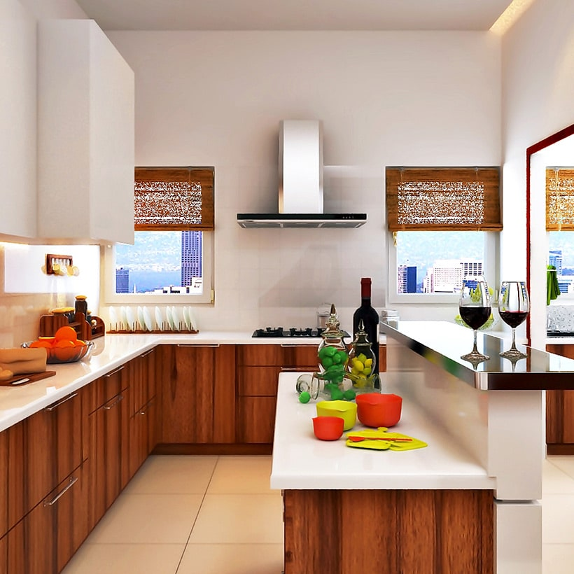 Multi-level kitchen island interior designs with kitchen counter and bar counter for small kitchen