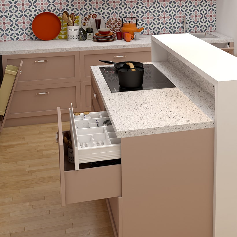 Well-designed kitchen island for your space with organizers and drawers are fitted into the island to provide extra cabinet storage