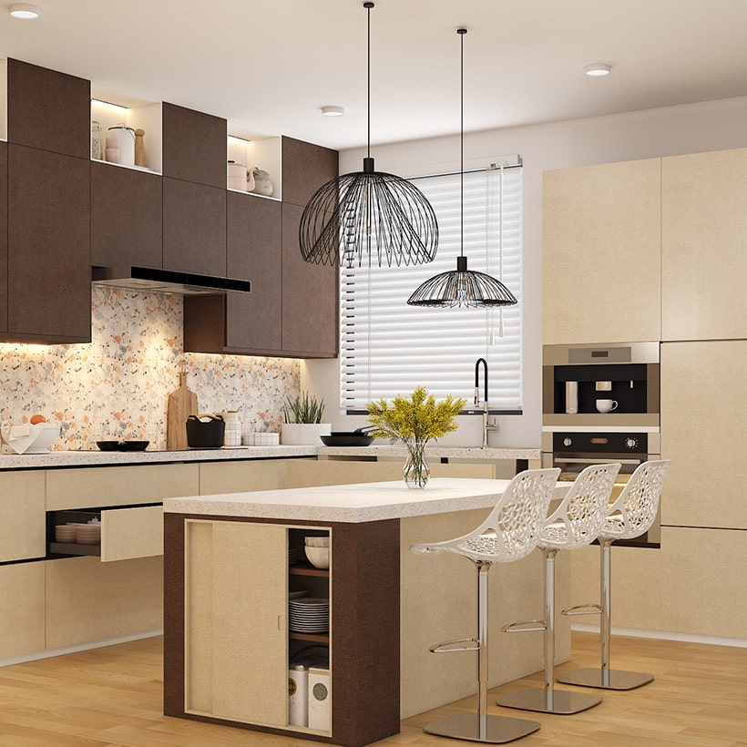 L shaped kitchen with island give the kitchen a sleek look and these kitchen islands with sliding doors and recessed handles