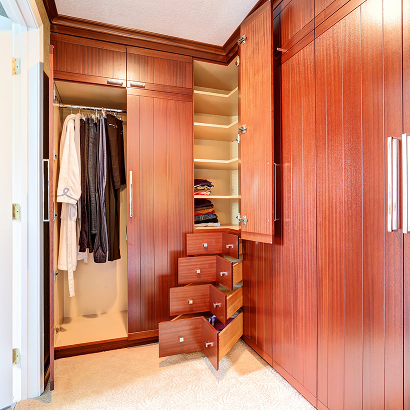 Small master bedroom ideas with wardrobes of l shape in master bedroom design ideas