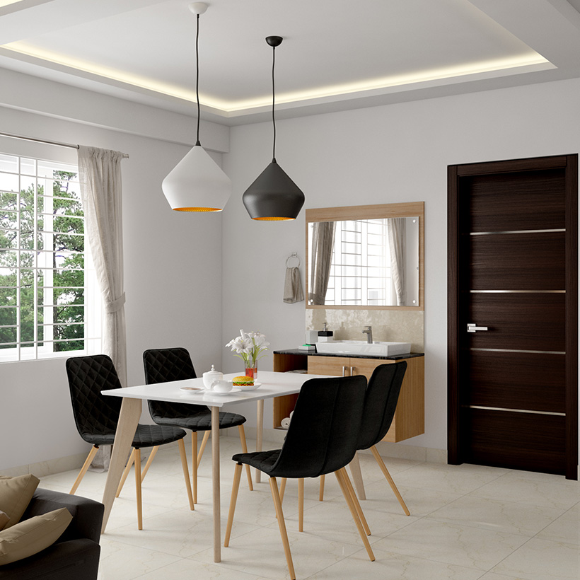 Modern built in dining room cabinets and a cabinet topped with a sink for dining room storage furniture