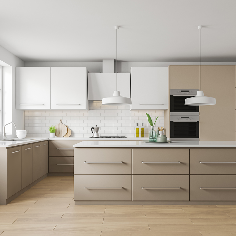 Kitchen Cabinets online with a pastel look of elegant white colour cabinets in ready made kitchen cabinets