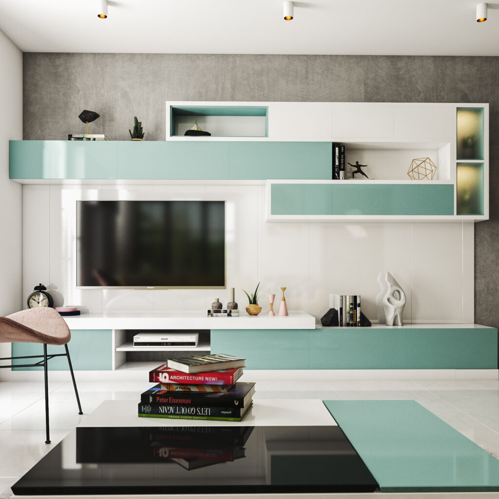 Tv showcase design for new model for your home with contemporary aqua theme with rectangular upside cupboards