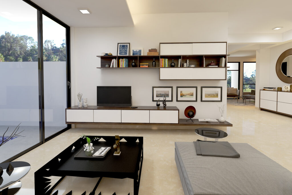 Tv showcase design with a big tv cabinet with wall mounted white colour shelves