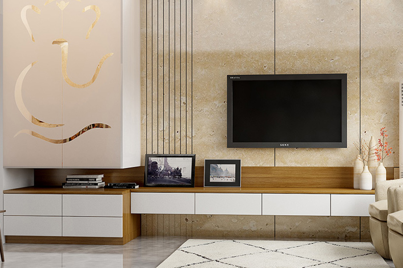 tv showcase design furniture for your home with a pooja unit attached to it in the corner tv showcase