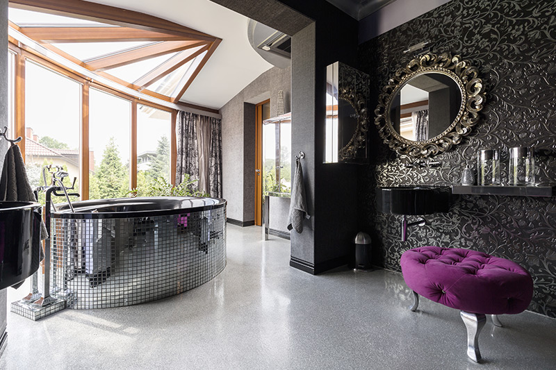 Modern bathroom ideas for the love of the bling with shiney modern bathroom tiles design