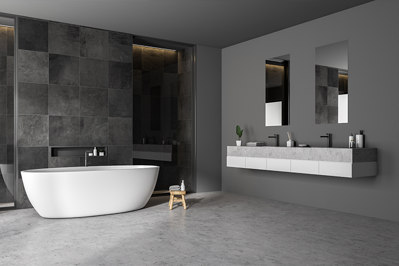 Modern washroom design with 2 wash basins attached on the wall with loose bathtub for modern bathroom designs for small spaces