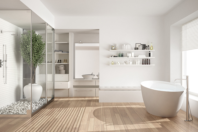 Modern bathroom designs in an elegant look with white colour with wooden floor in modern bathroom images
