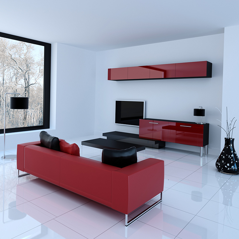 Hall tv showcase designs interior for your home with red coloured tv cabinet on the top and bottom in modern tv showcase