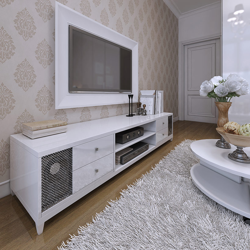 Tv showcase design cupboard with attached storage for speakers and drawers with a glossy finish