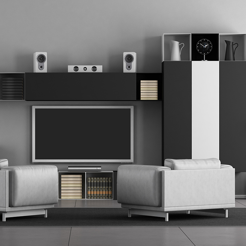 Tv showcase design with black and white colour with different styles of cupboards for living room