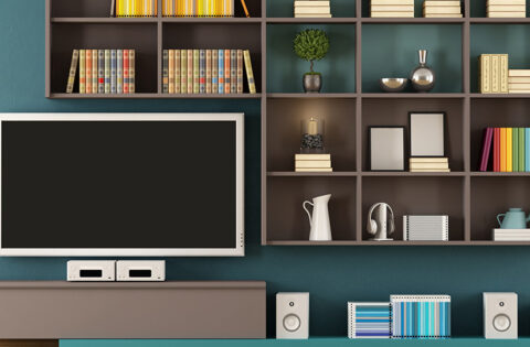 TV Showcase design on a green wall with square cupboard shelves for tv showcase design latest